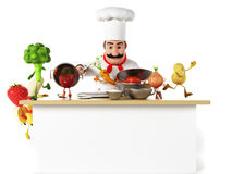 Kitchen chef with vegatables Stock Images