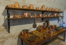 Kitchen in Chenonceau castle - Loire Valley - France Stock Images