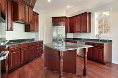 Kitchen in cherry wood. Kitchen with cherry wood in new construction home Stock Photo