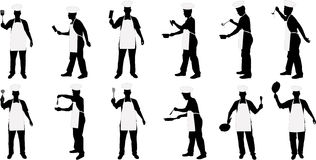 Kitchen chief silhouettes. Various kitchen chief vector silhouettes royalty free illustration