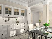 Kitchen with the classic furniture Royalty Free Stock Images