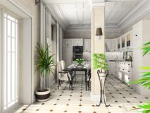 Kitchen with the classic furniture Stock Images