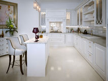 Kitchen in classic style Stock Photos