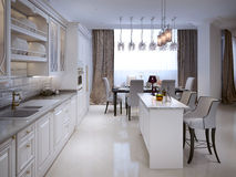 Kitchen in classic style Stock Images