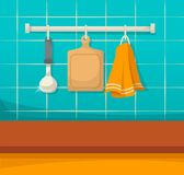 Kitchen clean utensils, clean dishes after cleaning, order and comfor. Modern apartment interior. Clean kitchen utensils and accessories, ladle, board, towel on royalty free illustration