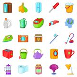 Kitchen cleaning icons set, cartoon style. Kitchen cleaning icons set. Cartoon set of 25 kitchen cleaning vector icons for web isolated on white background stock illustration