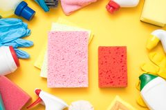 Kitchen cleaning set background sponge chemical stock photography