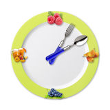 Kitchen clock with fruit Royalty Free Stock Images