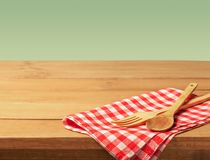 Kitchen cloth. Cooking tablecloth italian layout wooden wallpaper Stock Image