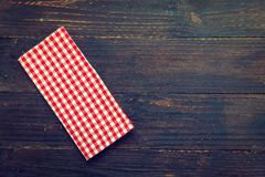 Kitchen cloth on wood table. With copy space - Vintage Filter Stock Photos