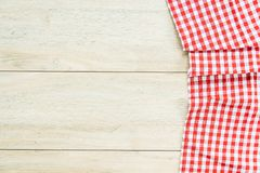 Kitchen cloth on wood table. With copy space - Vintage Filter Royalty Free Stock Photo