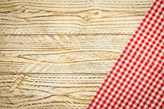 Kitchen cloth on wood table. With copy space - Vintage Filter Royalty Free Stock Photos