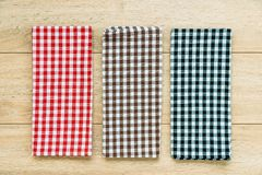 Kitchen cloth on wood table. With copy space - Vintage Filter Stock Images