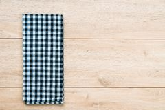 Kitchen cloth on wood table. With copy space - Vintage Filter Royalty Free Stock Image