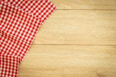 Kitchen cloth on wood table. With copy space - Vintage Filter Stock Photography