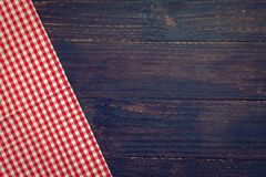 Kitchen cloth on wood table. With copy space - Vintage Filter Stock Image
