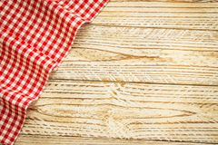Kitchen cloth on wood table. With copy space - Vintage Filter Stock Photo
