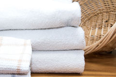 Kitchen cloths. And white towel close up Royalty Free Stock Photos