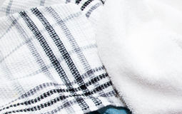 Kitchen cloths. And white towel close up Royalty Free Stock Images