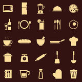 Kitchen color icons on dark background Stock Image