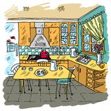 Kitchen Colored Sketch Royalty Free Stock Image