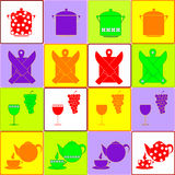 Kitchen colorful icons set Royalty Free Stock Photo