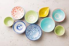 Kitchen - colorful pastel decorative ceramic bowls Royalty Free Stock Image