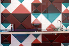 Kitchen with colorful tiles Stock Image