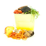 Kitchen compost bucket. Vegetable scraps for organic and biodynamic gardening royalty free stock image