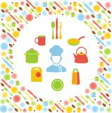 Kitchen concept with icons background. Cyclic set of kitchen utensils in flat style Stock Image
