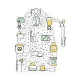Kitchen concept vector flat line art illustration Stock Photo