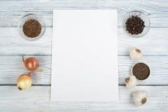 Kitchen, condiments, prescriptions record. Cooking food. Top view. Top view. Kitchen, condiments, prescriptions record. Cooking food Top view Top view Stock Photos