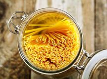 Kitchen container full of spaghetti Stock Photo