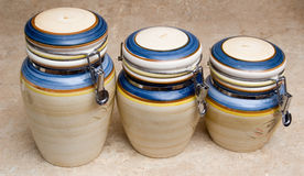 Kitchen containers. A group of three food containers stock photo