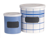 Kitchen containers. Set of retro ceramic kitchen containers isolated on white background Stock Images