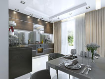 Kitchen Contemporary in brown with white walls and marble floors Royalty Free Stock Photo