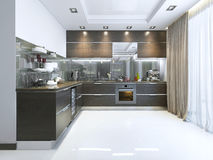 Kitchen-Contemporary in brown with white walls and marble floors Royalty Free Stock Photo