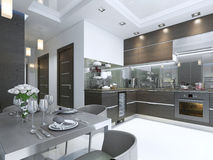 Kitchen Contemporary in brown with white walls and marble floors. 3D render royalty free illustration