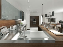 Kitchen contemporary style Royalty Free Stock Image
