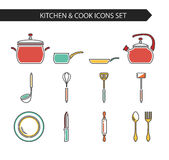 Kitchen and cook icons. Thin line flat vector kitchen and cook icons. Design elements set for website isolated on white background Royalty Free Stock Image