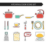 Kitchen and cook icons. Thin line flat vector kitchen and cook icons. Design elements set for website isolated on white background Stock Images