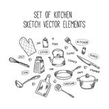 Kitchen cook sketch vector elements. Set of hand drawn kitchenware accessories in doodle style. Collection of kitchen isolated icons for cooking vector illustration