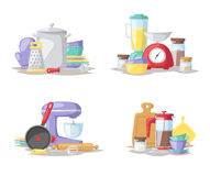 Kitchen cook tools set flat vector illustration. Royalty Free Stock Photos