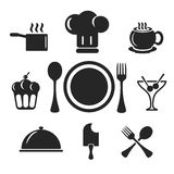 Kitchen and cook web and mobile icons. Vector. Kitchen and cook vector web and mobile logo icons isolated on white back. Symbols of cocktail, cake, toques, ice stock illustration