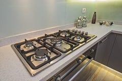 Kitchen cooker interior design of luxury apartment Stock Photos