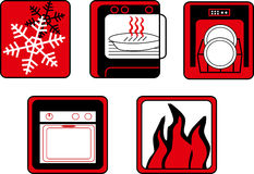Kitchen and cooking button set Stock Images