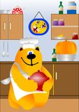 Kitchen with cooking cat chef Royalty Free Stock Photos