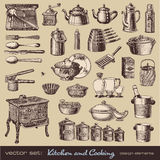 Kitchen and cooking design elements. Vector set: kitchen and cooking - collection of vintage kitchen items and tableware Royalty Free Stock Photography
