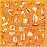Kitchen And Cooking Doodle Set Royalty Free Stock Images