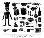 Kitchen and cooking elements black stock illustration